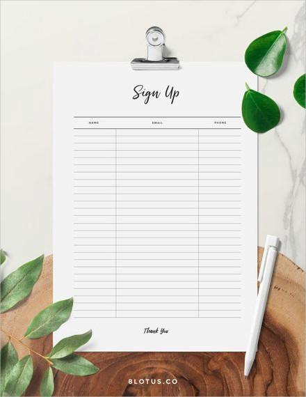minimalist sign up sheet