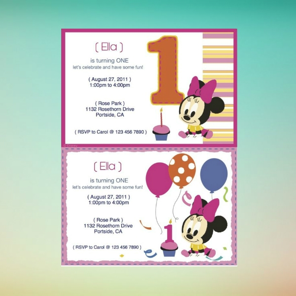 minnie mouse printable birthday invitation