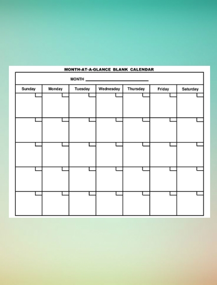 month at a glance blank schedule