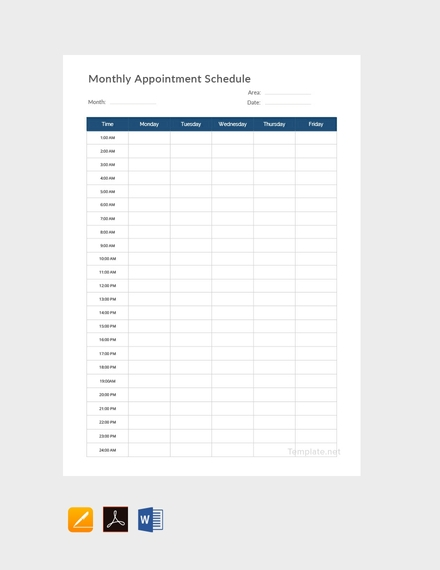 monthly appointment schedule