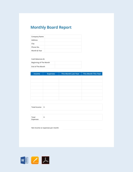 monthly board report template