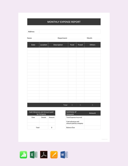 monthly expense report template2