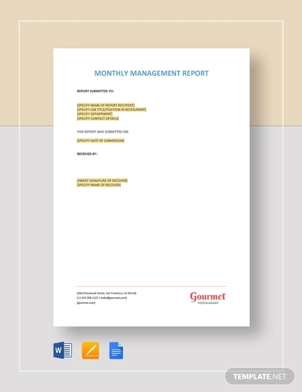 monthly management report template1