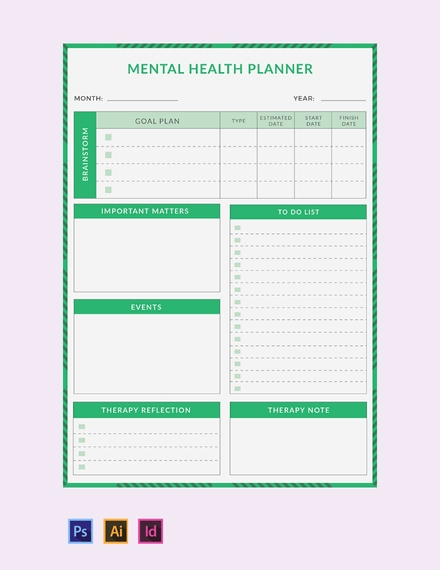 monthly mental health planner