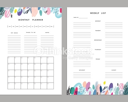 monthly planner and weekly list