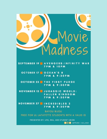 movie madness schedule