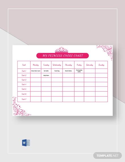 my princess chore chart