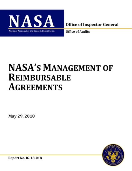 nasas management of reimbursable agreements audit report example