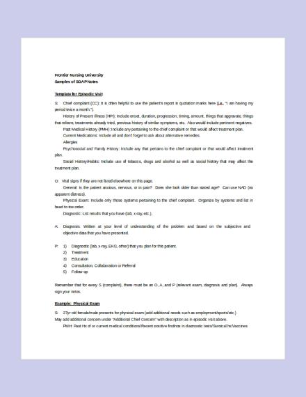 Nursing SOAP Note