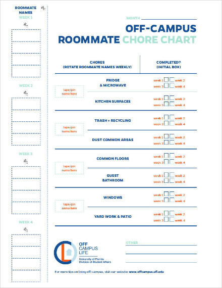 off campus roommate chore chart