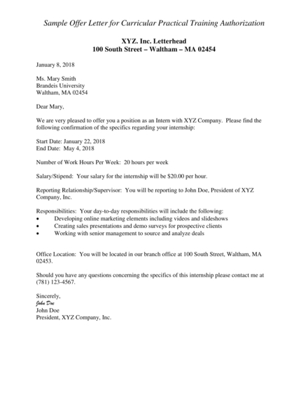 offer letter for curricular practical training authorization example