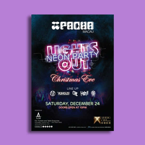 pacha lights out neon party flyer