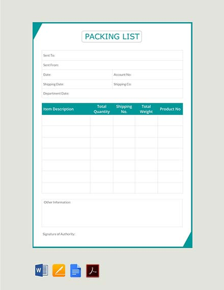 packing list template1