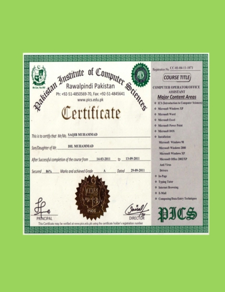 pakistan institute of computer science diploma