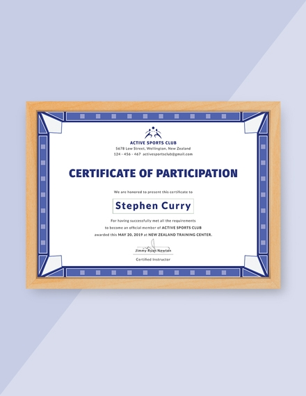 participation certificate for sports