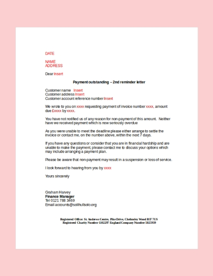 Payment Outstanding Reminder Letter