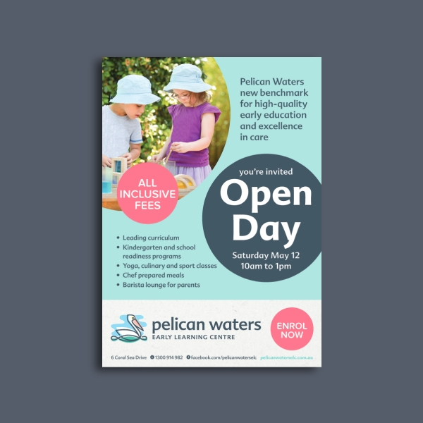 pelican waters early learning center day care flyer
