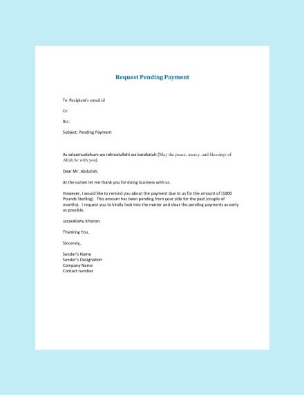 pending payment reminder letter