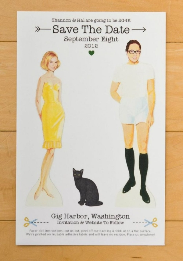 Personalized Paper Doll Save the Date Invitation