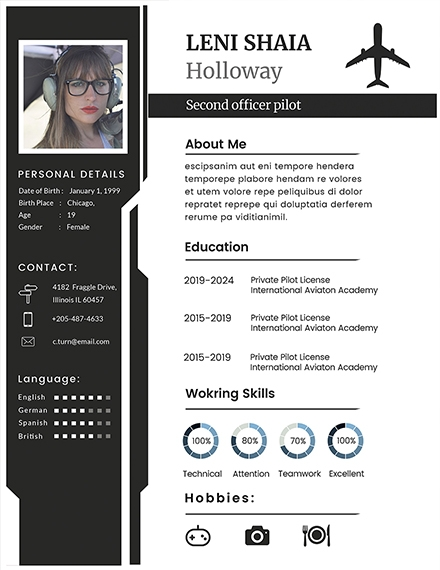 pilot creative resume template
