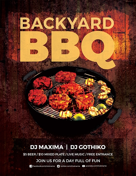premium backyard bbq party flyer