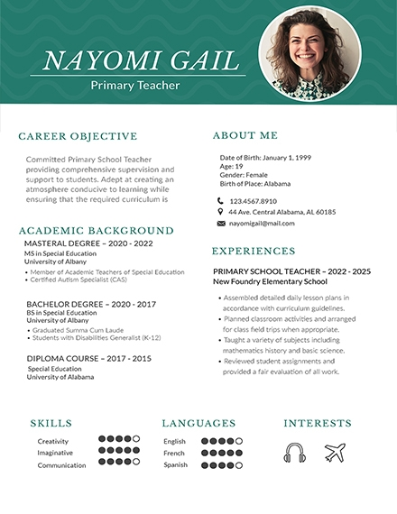 primary teacher creative resume