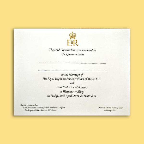 prince william and catherine middleton wedding invitation card