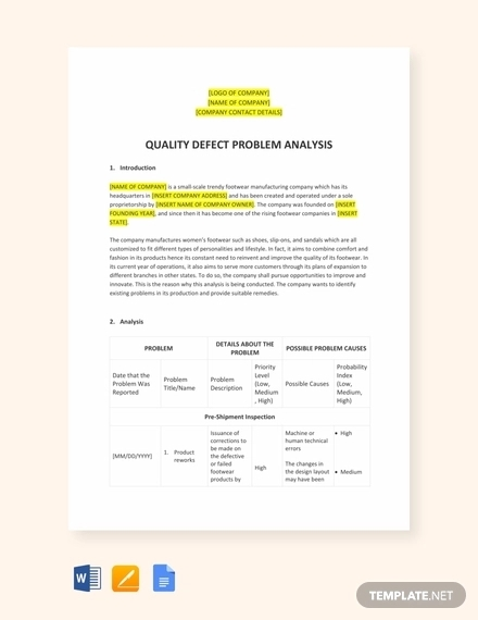 problem analysis template