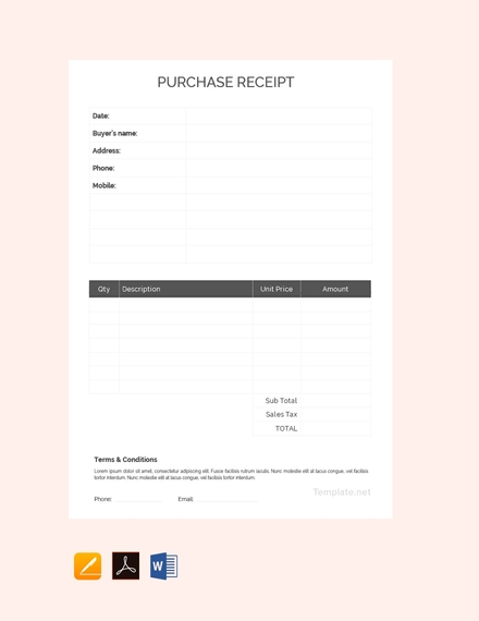 purchase cash receipt template