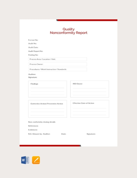 quality nonconformity report