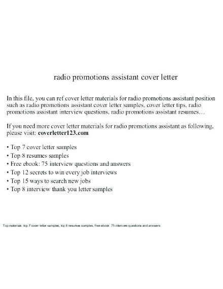radio promotions assistant promotion cover letter