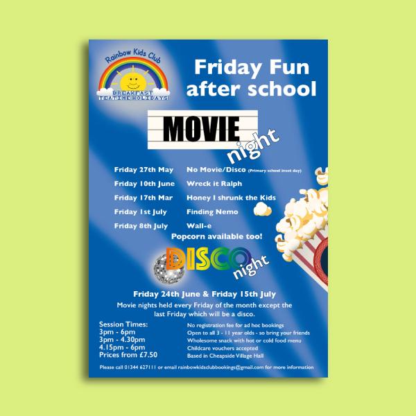 rainbow kids club day care flyer