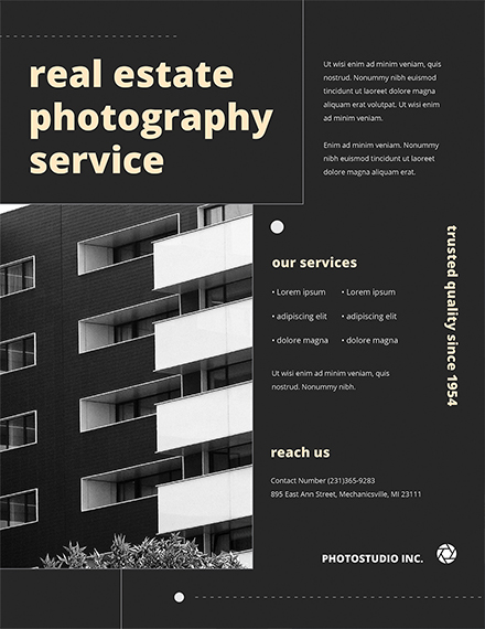 real estate photography flyer template