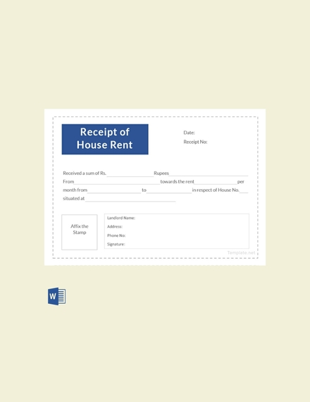receipt template of house rent
