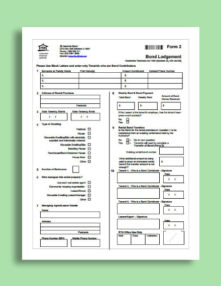 rental bond receipt