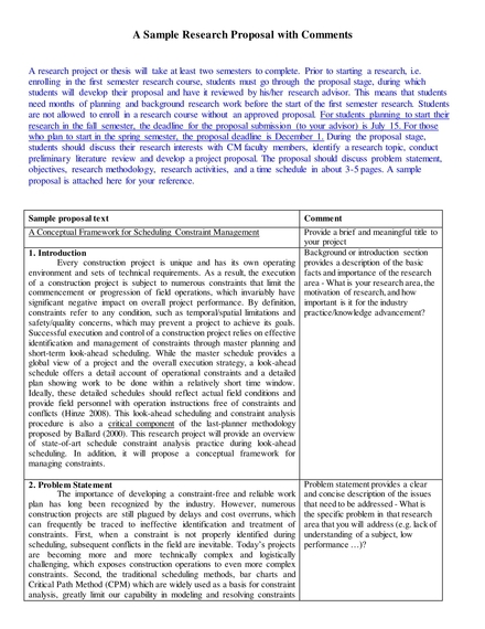 research proposal with comments example