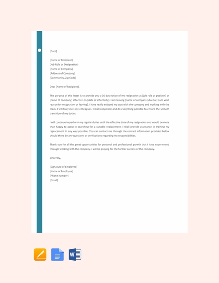 resignation letter with 30 day notice template