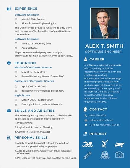 resume for software engineer fresher design