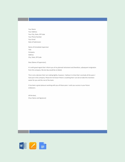 Retirement Resignation Letter Template