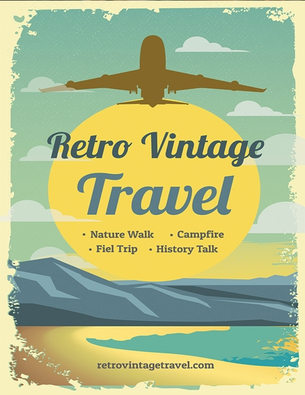 retro vintage travel poster template