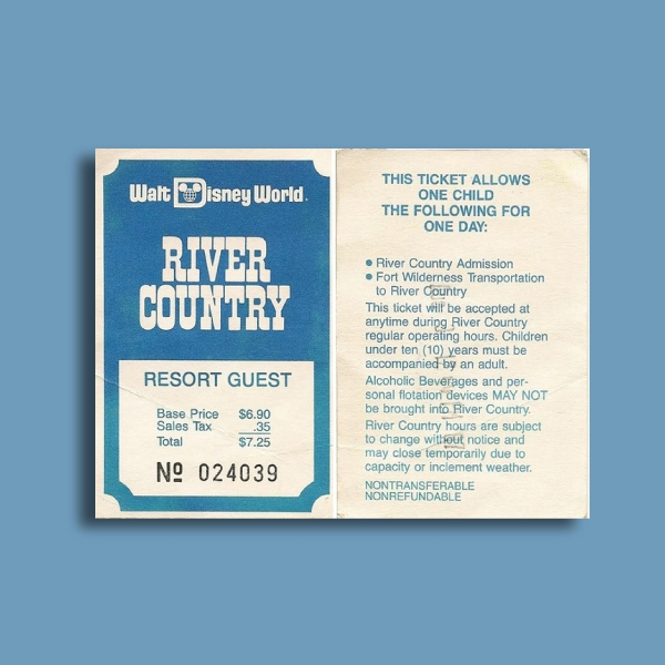 river country walt disney admission ticket