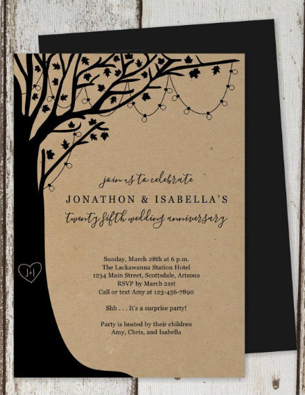 rustic tree wedding anniversary invitation