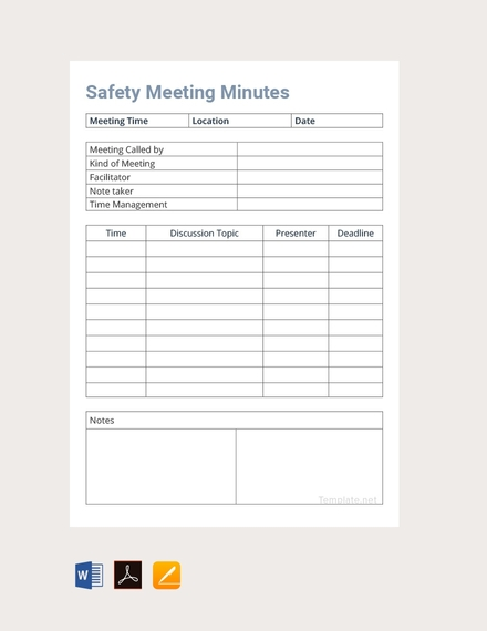 safety meeting minutes design