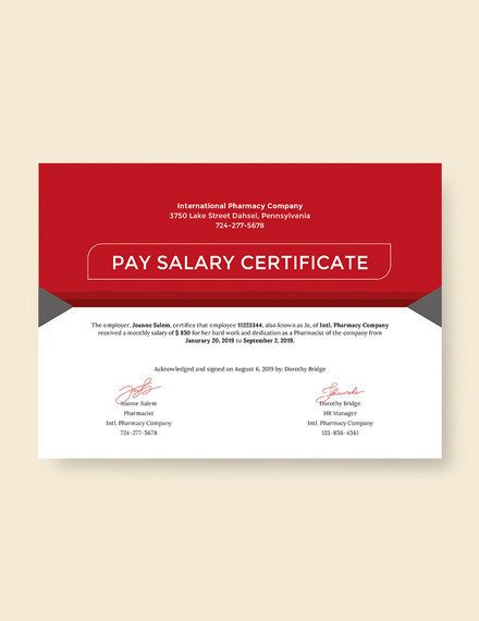salary pay certificate template