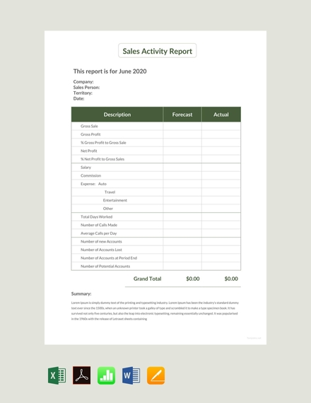 sales activity report design