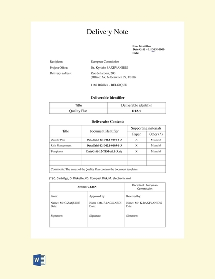 sales delivery note template