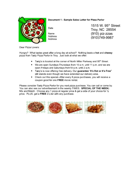 sales letter for pizza parlor