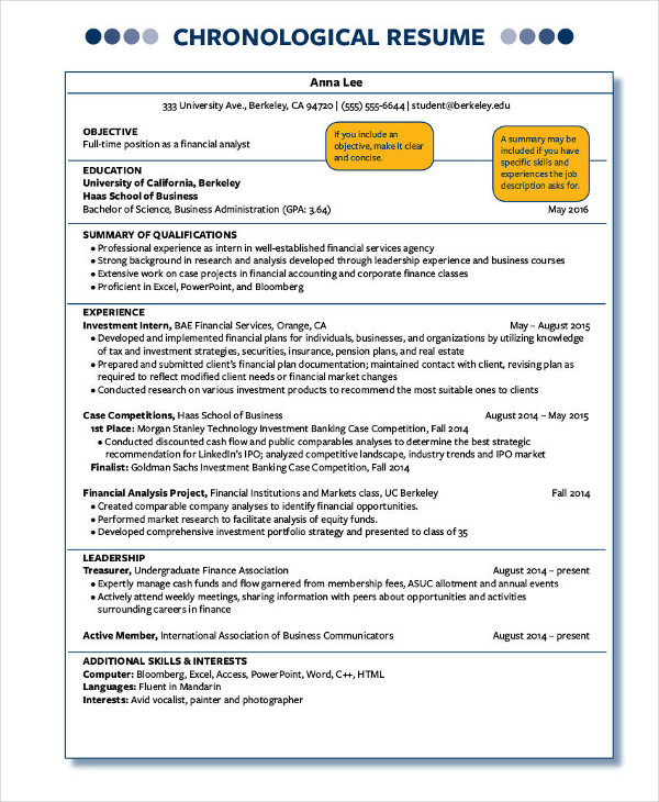 sample berkley chronological one page resume