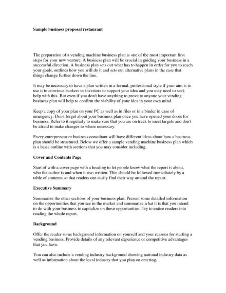 sample business proposal for restaurant