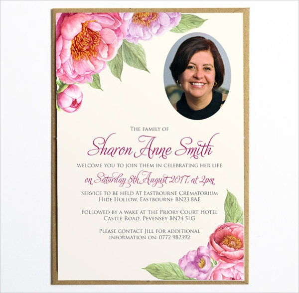 sample funeral invitation template